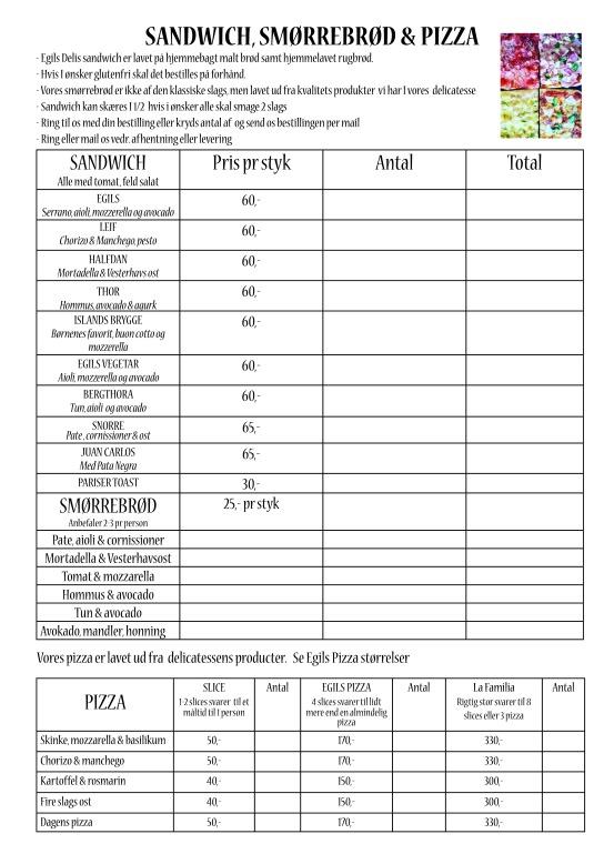 sandwich pizza bestillings liste