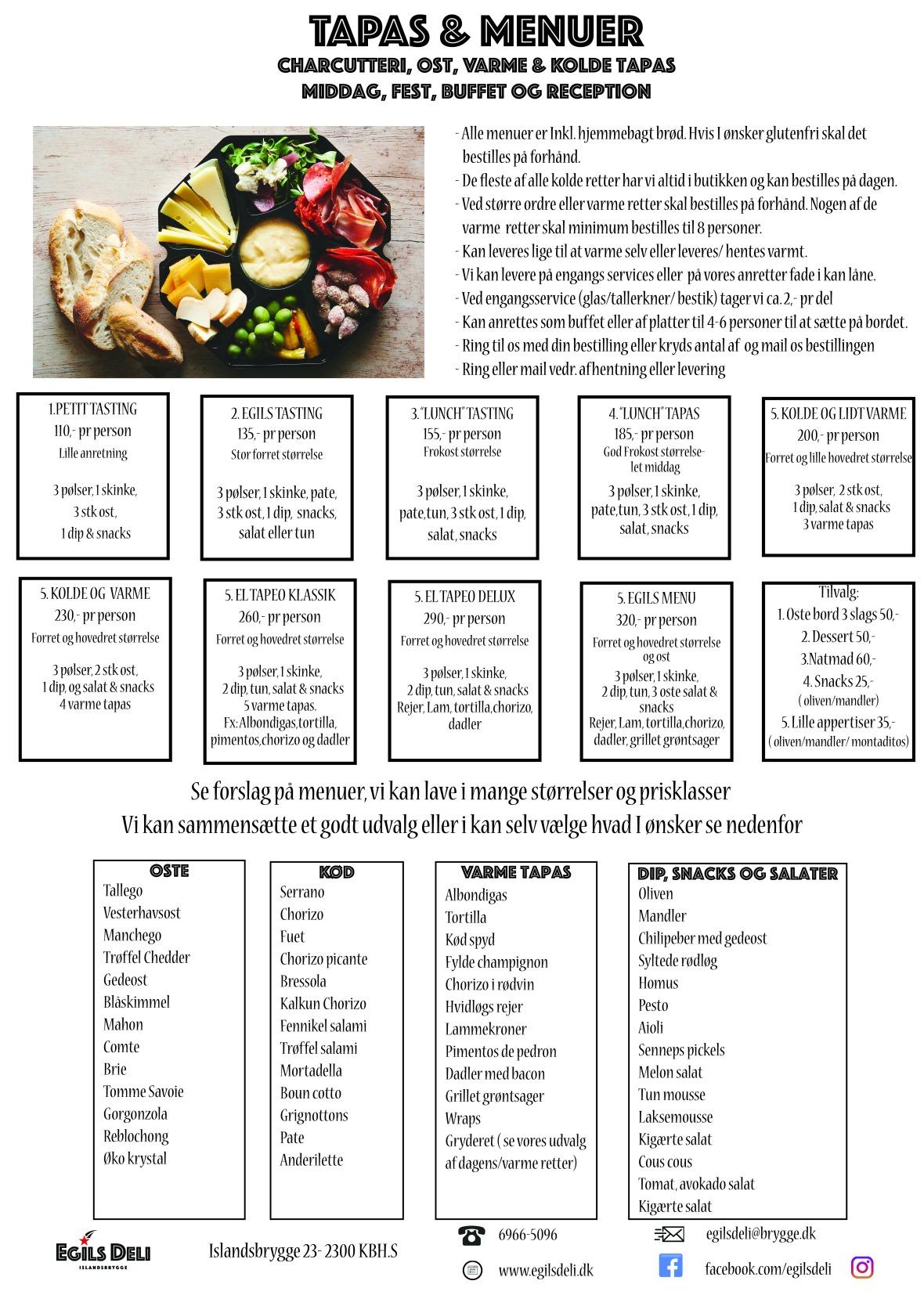 tapas og menuer